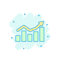 growing bar graph icon in comic style increase vector image