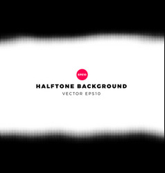 halftone dots background top and bottom frame vector image