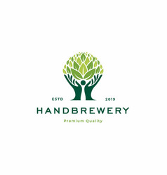 Hand brewery logo icon vector