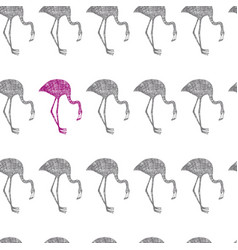 hand drawn flamingo grey and pink in pencil vector image