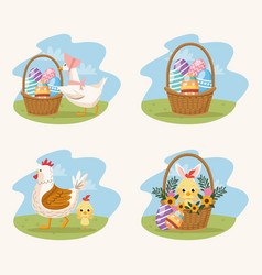 happy easter card with animals and eggs painted vector image