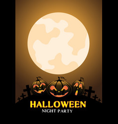 happy halloween night party pumpkin orange moon vector image