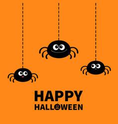 happy halloween spider set hanging dash line web vector image
