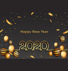 Happy new year 2020 golden color with party vector