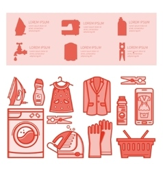 Icons set laundry room vector