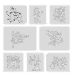 Icons with symbols from Aztec codices vector