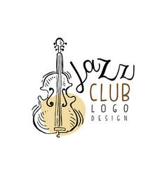 jazz club logo design vintage music label with vector image