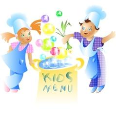 Kids Menu Card Design Child cartoon vector