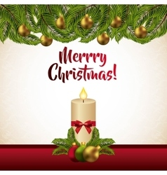 Leaves candle and sphere icon Merry Christmas vector