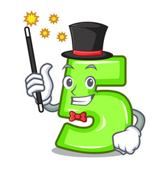 Magician cartoon number five engraved on stone vector