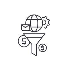 marketing funnel line icon concept marketing vector image