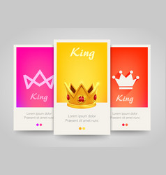 Modern colorful vertical banners with crown signs vector