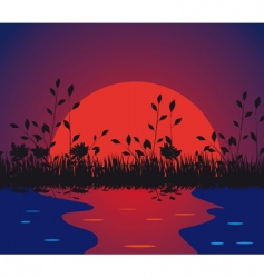 Nature against the setting sun vector