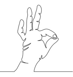 one continuous line hand showing ok gesture vector image