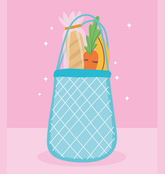 Online market eco friendly bag with bread carrot vector