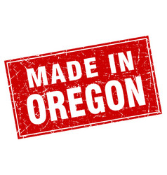 Oregon red square grunge made in stamp vector