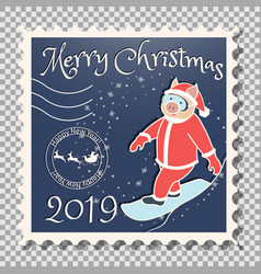 pig snowboarder - santa claus christmas postage vector image