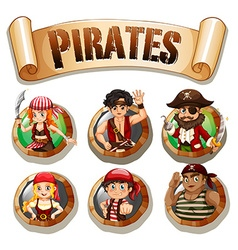 Pirates on round badges vector