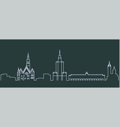 poland simple line skyline and landmark vector image