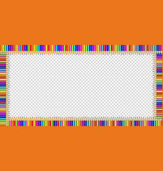 Rectangle frame made of multicolored pencils on vector