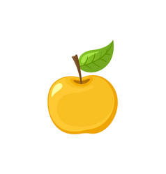 ripe apple fruit with leaf on top icon vector image