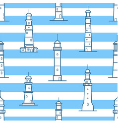 seamless pattern with different lighthouses drawn vector image