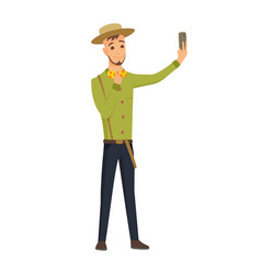 selfie concept with young man in hat standing and vector image