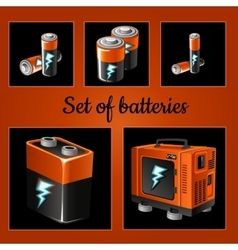 Set batteries on a brown background vector