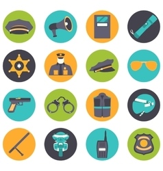 set collection icons of police equipment vector image