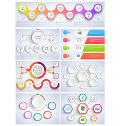 set infographics flat design vector image