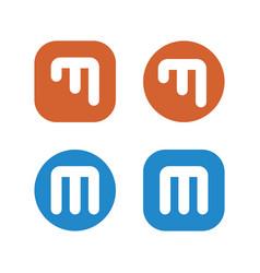 set m letter logo template design vector image