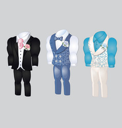 Set of animated mens clothing groom suit for vector