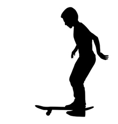 Set of skateboarders silhouette vector