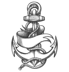 Ship anchor and ribbon old school tattoo vector