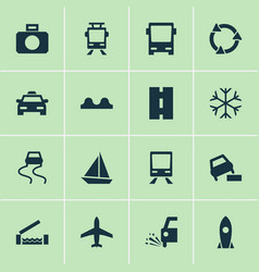 Shipment icons set with vehicle slippery vector