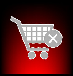 shopping cart with delete vector image