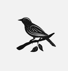 Silhouette of the bird on branch vector