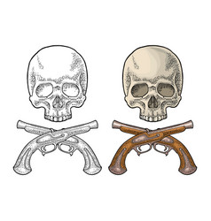 skull and crossed pirate flintlock pistol vintage vector image
