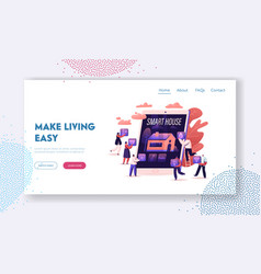 smart house app website landing page people at vector image