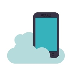 smartphone with cloud isolated icon design vector image
