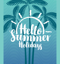 Summer tropical banner with palms and waves vector