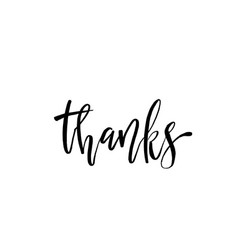 thank you phrase hand drawn black lettering photo vector image