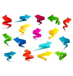 Twisted arrow banners in origami style vector image