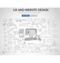 UX Website Design concept with Doodle design style vector