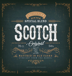 Vintage scotch whisky label for bottle vector