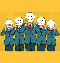 vintage set of smiley face emoji people vector image