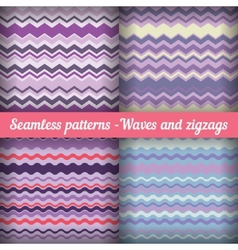 waves and zigzags - set seamless patterns in vector image