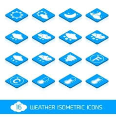 Weather isometric icons white and blue vector image