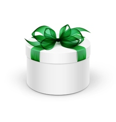 White Round Gift Box with Green Ribbon and Bow vector image