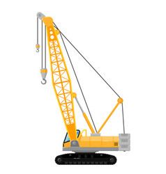 yellow crawler crane isolated on white background vector image